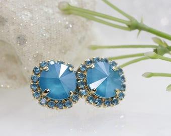 BLUE STUD EARRINGS, Elegant Earrings, Wedding Jewelry, Minimalist Stud Earrings, Blue Sky Earrings, Swarovski Earring, Bridal,Wife Gift idea