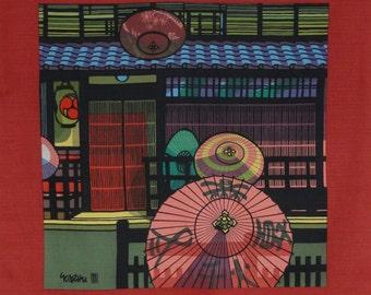 Clifton Karhu 'Kyoto Gion Umbrellas' Furoshiki Japanese Fabric w/Free Insured Shipping