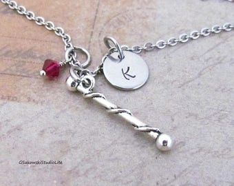 Baton Twirling Charm Necklace, Personalized Antique Silver Hand Stamped Initial Majorette Baton Charm Necklace