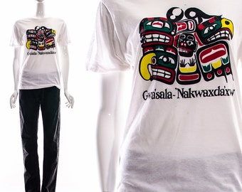Vtg Rare Gwa'sala 'Nakwaxda'xw Nations Native Indian Tribe Tribal Canada BC T-Shirt White Tee Paper Thin Distressed Broken In Burnout S M