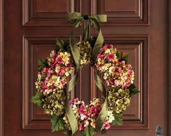 Spring Wreaths | Hand Blended Hydrangea Wreath | Front Door Wreaths |  Spring Door Wreath |