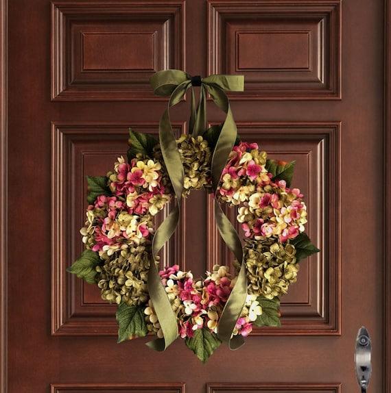 Summer Wreaths Hand Blended Hydrangea Wreath Front Door