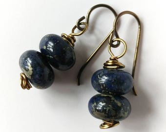 Stone and Antique Brass Earrings