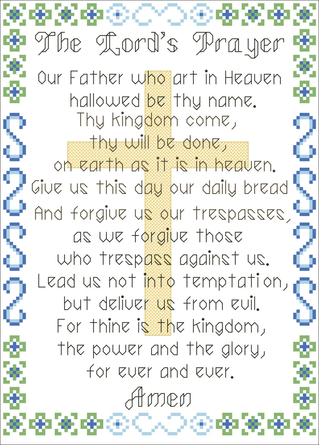 Counted cross stitch pattern The Lord's Prayer, instant ...