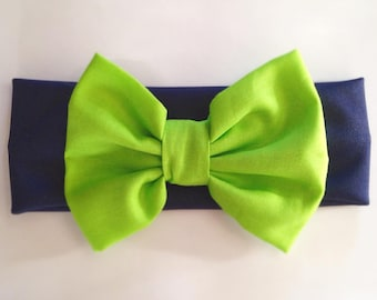 NEW Blue and Green Cotton Stretch Seattle Seahawk 12th Baby Headband-- Too Cute and Sporty!!!