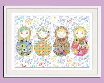 nursery wall art, nursery prints, baby girl nursery baby nursery decor girl nursery decor, babushka art childrens art kids wall art baby art
