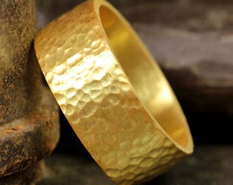 8mm Hand Forged Hammered 24K Yellow Gold over 925 Sterling Silver Handcrafted Flat Pipe Cut Thick Wedding Band Ring, FREE Sizing & Engraving
