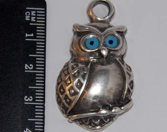 Antique Silverplated Owl charm with blue enamel color eyes - 4.1*2.2cm - Greek Metal charms - Greek products - Owl pendant