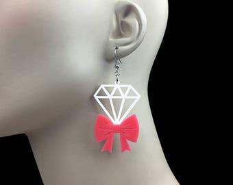 READY MADE SALE - Tie It With A Bow Diamond Earrings - Bubblegum Pink & White Laser Cut Earrings (C.A.B. Fayre Original Design)