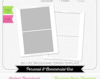 Ziplock Bag Topper Template - INSTANT DOWNLOAD - PRINTABLE - Make your own party printables