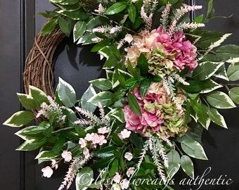 spring wreath - summer wreath - hydrangea wreath - monogram wreath - grapevine wreath - boxwood wreath - mothers day