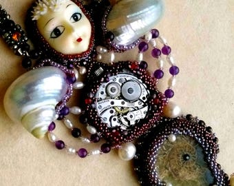 Midnight Mermaid, Beadwoven Embroidered Necklace, Vintage Face, Natural Ammonite, Iridescent Shells, Pearls - Beadwork by enchantedbeads