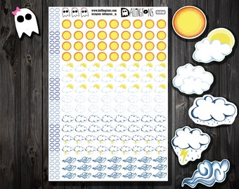 SS-27 /// Weather Planner Stickers - Weather Stickers - Sunny Stickers - Rainy Stickers - Partly Cloudy Stickers - Partly Sunny Stickers