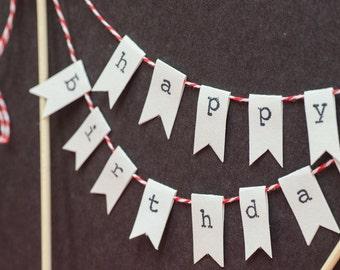 Happy Birthday Cake Topper |  Happy Birthday Banner | Customizable | Happy Birthday Cake Bunting | Cake Decorations | Shabby Chic