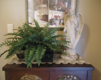 Large Boston Fern Potted in Rustic Brown Tin Green Multi Toned Realistic Silk Plant #404