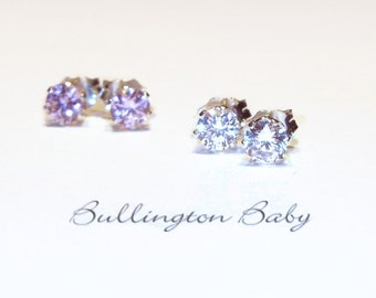 Baby Earrings, Girls Earrings, Baby Jewelry, Girls Jewelry, Kids Jewelry, Cubic Zirconia Earrings (B16)