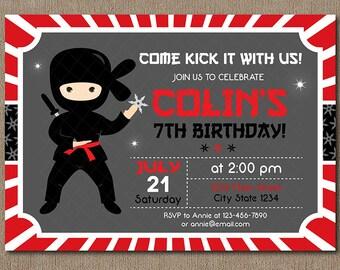 Ninja Birthday Invitation, Ninja Invite, Ninja Party, Chalkboard