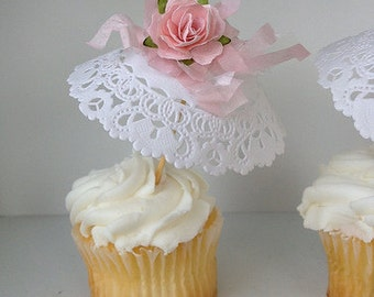 Birthday Decoration Six Shabby Chic Parasol Cupcake Toppers Mother's Day Decoration for Birthday Party or Birthday Decoration