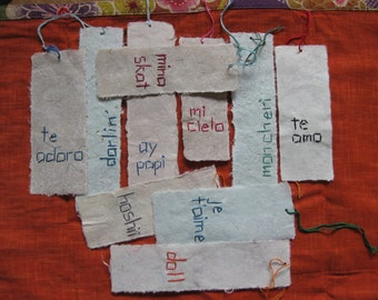 Multilingual Whisperings of Love and Endearment Handmade Paper Bookmark