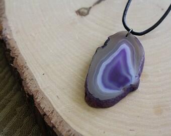 Agate Slice Necklace, Purple
