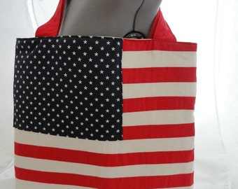 Large tote, patriotic bag, flag bag, 4th of July bag,red, white and blue tote,tote with pockets,quilted bag, laptop bag