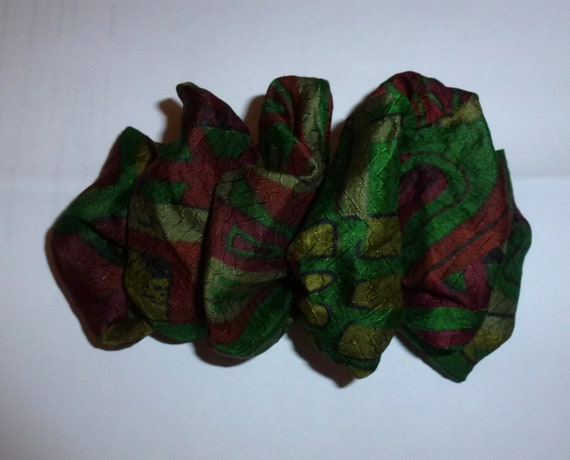 Becky Bows ~  Barrette ribbon Hand crafted oversized  BIG hair bow Women or Girls green red silk