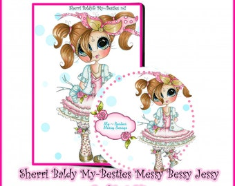 CD ROM Create With Sherri Baldy Messy Bessy Jessy Digital Digi Stamps Color images Card toppers 100s of Images Big Eyed Art My Besties