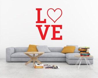 Love Wall Decal, Heart Decal, Love Heart Decal, Heart Wall Decal, Valentine's Day Decal, Valentine's Day Decor, Love Sticker, Vinyl Decal