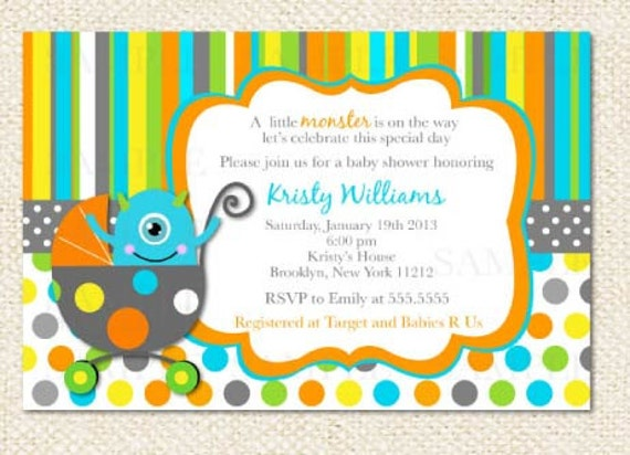 Little monster baby shower invitations like this item filmwisefo Image collections