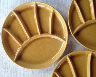 2 Vintage GOLD round stoneware Fondue Sushi plates mustard yellow ceramic grill plates, Mid century JAPAN divided plates MCM Fondue platters