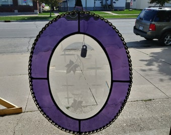 Grape Arbor etched glass bevel with grape surround.
