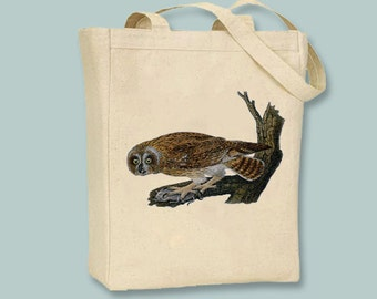 Vintage Owl on Branch BLACK or NATURAL Canvas Tote -- selection of sizes available.