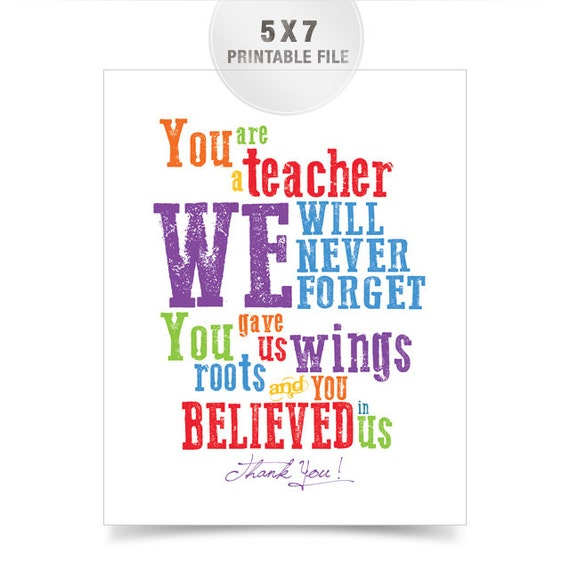Welcome Quotes For Teachers Day: Items Similar To 5x7 Rainbow Teacher Appreciation
