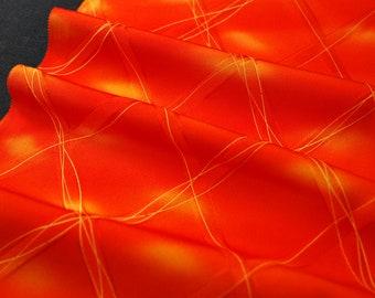 """14""""w. x 14.9""""l. Vintage kimono silk fabric red orange abstract 2460xA"""