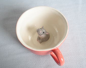 Mug red ceramic tea cup with hippopotamus - tiled grey hipopotamus animal figurine miniature surprise