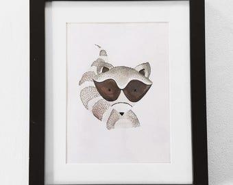 Hand-painted Woodland Raccoon