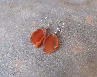Natural Carnelian earrings -  orange gem stone jewelry handmade in Australia - ethical sourced crystal jewelry - small light earrings