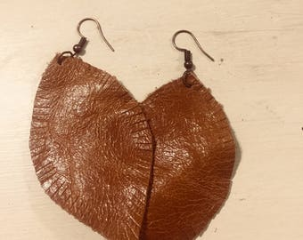 Medium Brown Leather Feather Earrings