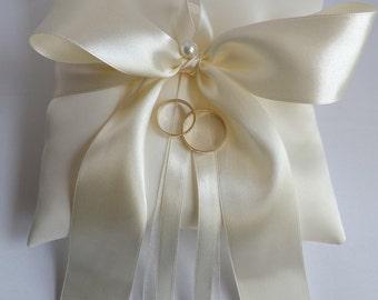 DIAMOND WHITE Wedding Ring Pillow - Ring Bearer Pillows - White, OFF White, Ivories