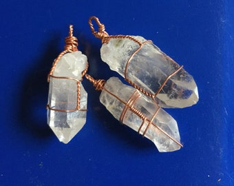Copper Wire Wrapped Crystal Necklace