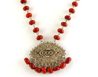 Sterling Silver & Sponge Coral Beads Necklace with Etruscan Revival Pendant