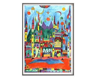 Nursery decor, Landscape Painting, Kite art, Art Print, Home Decor, Landscape Art, Instant Download, child & nursery decor, printable art