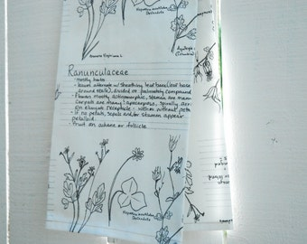 MOTHER'S DAY GIFTS, Linen Tea Towel - Ranunculaceae Botanical Sketch