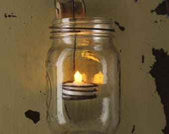 Rustic Regular Canning Jar LED Tealight Candle Holder Crafts Folk Primitive