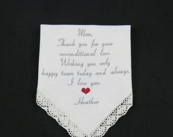 Mother of the Bride Embroidered Wedding Handkerchief Mother of the Bride Hankerchief Personalized Gift for Mom from Bride Napa Embroidery