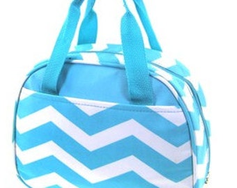 Personalized Girls Insulated Lunch bag- CHEVRON lunch bag Turquoise Chevron