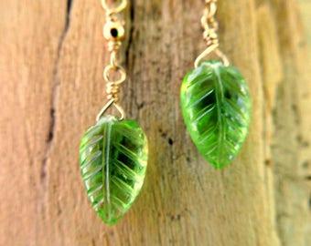 August Birthstone   Delicate Peridot Earrings   Gold Filled Earrings   Birthday Gift   Peridot Birthstone Earrings   Dangle Earrings