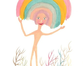 Rainbow print, quirky art print, funny prints, nudist, art prints