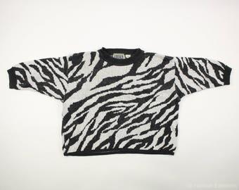 80s Cropped Slouchy Zebra Print Sweater by Forenza - Women's Medium - Ramie Cotton Blend