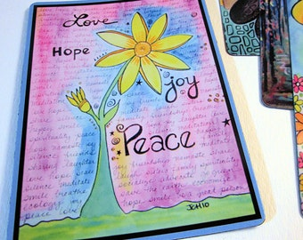"Art Magnet Love Hope Joy Peace Flower 3.5"" x 5"""